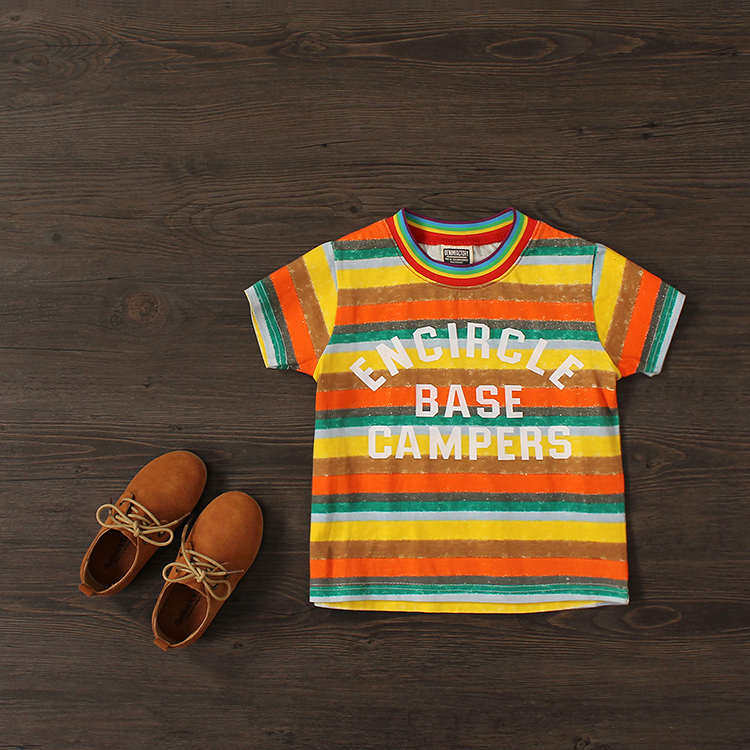 Baby Boys Summer T-shirts Boys Colorful Striped Short-sleeve T-shirts Kids Casual Shirts Summer Clothing
