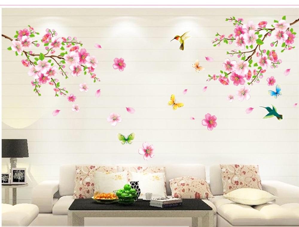 Muurstickers Slaapkamer Bloemen : Perzik bloemen muurstickers slaapkamer woonkamer sofa tv instellen