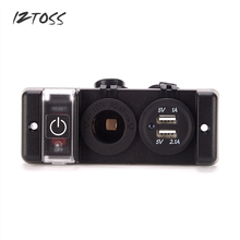 IZTOSS Cigarette Lighter Power Socket Plug 12V LED Car Cigarette Lighter Socket With Dual Socket USB Adapter Charger