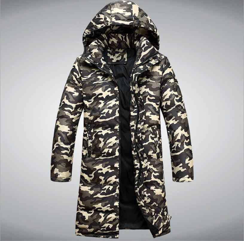 c1226d86d9f ... 2017 Зимняя Новая мужская мода 90% утка вниз куртка мужская камуфляж  Расширенный толще с капюшоном ...