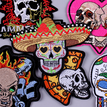 Skull Rock Band Patches For Clothing DIY Embroidered Iron On Patches On Clothes Punk Hip-hop James Badge Patch Sticker Applique image