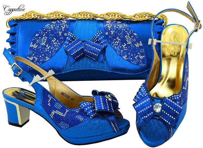 Самая модная Королевский синий цвет вечерние туфли-лодочки и сумка серии высокая обувь на каблуке и сумочка с камнями для модных леди MM1059