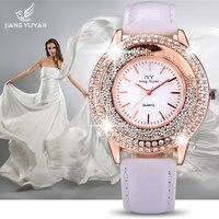 JIANGYUYAN Luxury Brand Fashion Ladies Leather Crystal Diamond Rhinestone Watches Women Beauty Dress Quartz Wristwatch Hours