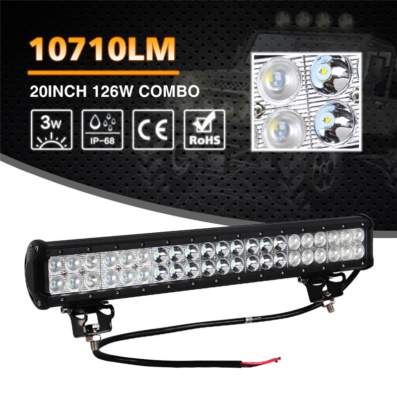 1pc 20inch 126W With Cree LED Car Work Light Bar Combo Flood Spot Beam Daytime Running Light DRL for Jeep Offroad SUV