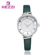 Kezzi роскошные женские часы повседневные кожаные Наручные водонепроницаемые