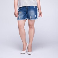 High waist denim shorts Women Korean plus size Loose Womens Ripped Cotton Shorts Summer Ladies Embroidered Blue Jeans shorts