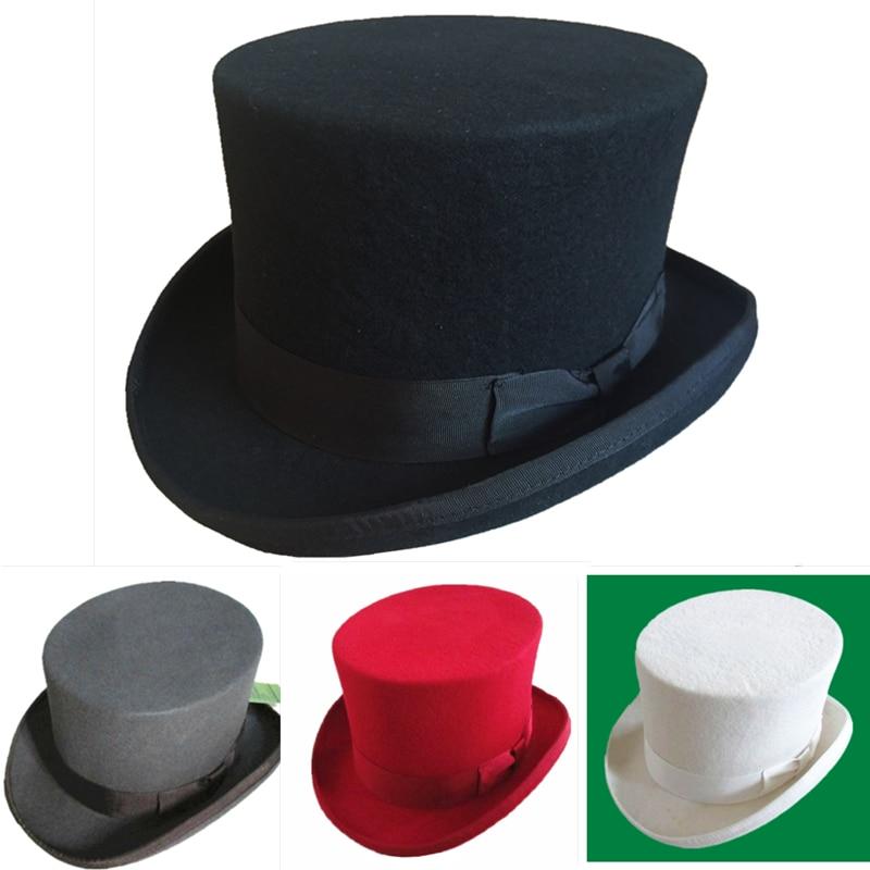 Wool Felt Top Hat Men Women Topper Many Colors Red White Black Grey