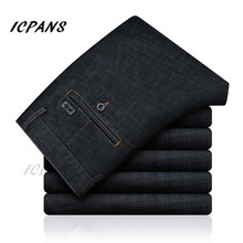 ICPANS Black Denim Jeans Men Stretch Straight Mens Jeans Regular Fit Business Casual Pants Jeans homme 2019 Autumn Big Sizes 42
