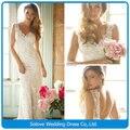 Новый Cap рукав V шеи открытой спиной оболочка кружева аппликация свадебное платье длиной 2014 свадебные платья casamento ( SLW-010 )