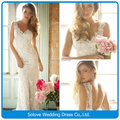 New Cap Sleeve V Neck Open Back Sheath Lace Appliqued Wedding Dress Long 2014 Vestidos de casamento (SLW-010)