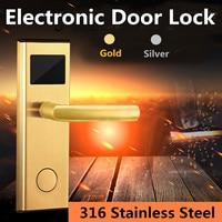 Digital Card Key Hotel Door Lock Stainless Steel Gold/Silver Unlock Intelligent RFID System Anti rust Anti corrosion Static