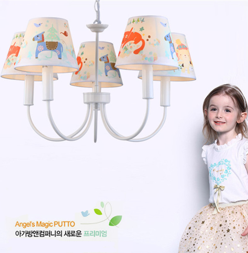 kids novelty horse lamp shade hanging lighting Korean style Cartoon lamp Pendientes Children room Bedroom iron chandelier lampe цена