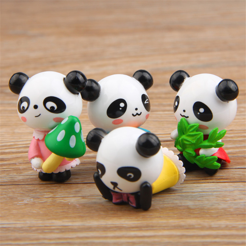 4 Pcs/set Zakka Kawaii Cute Panda Action Figures Dolls Toys DIY Landscape for Kids Toy