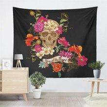 купить Dead Day Sugar Skull Tapestry Colorful Rose Floral Print Wall Hanging White Black Wall Carpet Bedroom Decor Beach Blanket D35 по цене 772.46 рублей