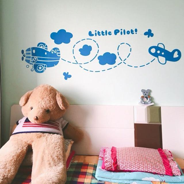 Cute Cartoon Plane Little Pilot Acrylic Stickers Kids Room Living Room Kindergarten Wall Decorations Black Blue DIY Sticker