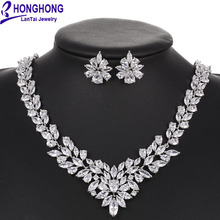 HONGHONG Cubic zirconia necklace earrings Bridal Jewelry Sets European Style Vintage high quality Bride jewelry sets #T8010