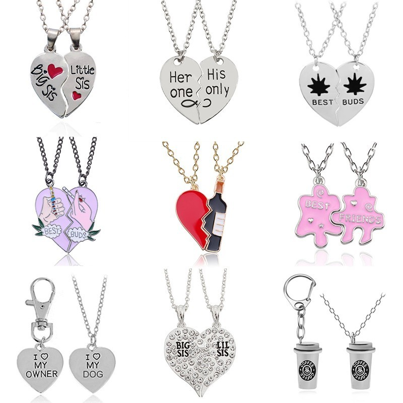 Best Friends Forever Sister Pendant Necklace Women Enamel Love Heart Coffee Cup Necklaces Pendants BFF Couple Jewelry Colar