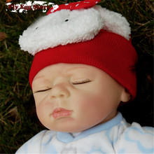 "Christmas gift Red hat  22"" Reborn baby Cotton body New born doll girl kid Pretend Play toy Sleep silicone reborn baby doll"