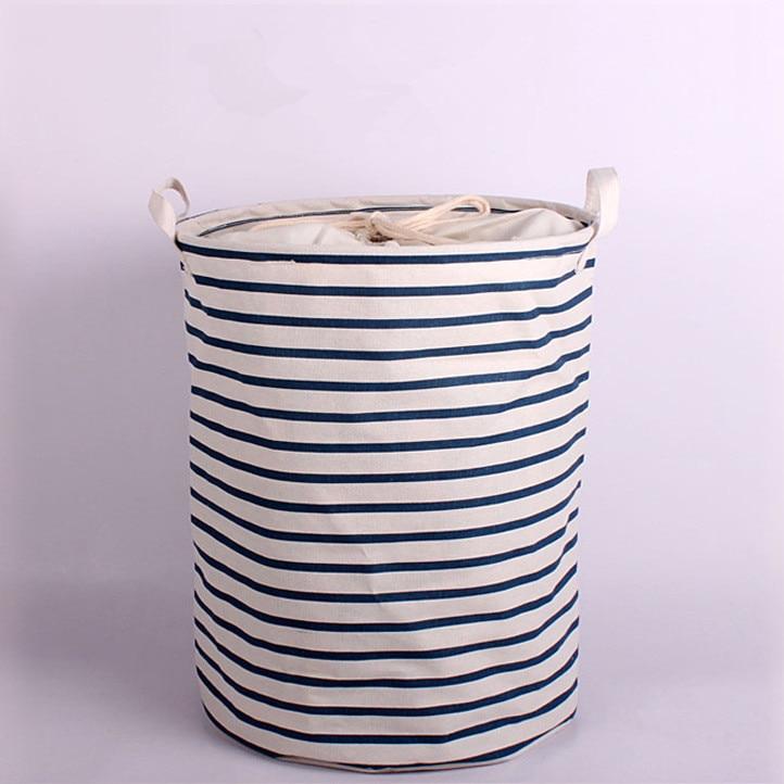 large size Unique Foldable Cotton Linen Washing Clothes Laundry Basket Bag Hamper Storage height 45xdiameter 35cm