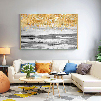 Modern Abstract painting on canvas cuadro decoracion Gold texture acrylic painting Wall art Picture decor for living room home