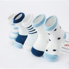5 пара/лот Мягкий хлопок Обувь для мальчиков Обувь для девочек Носки для девочек осень Зимние теплые милые candy stripe узор детские носки для ребенка виды 14-588