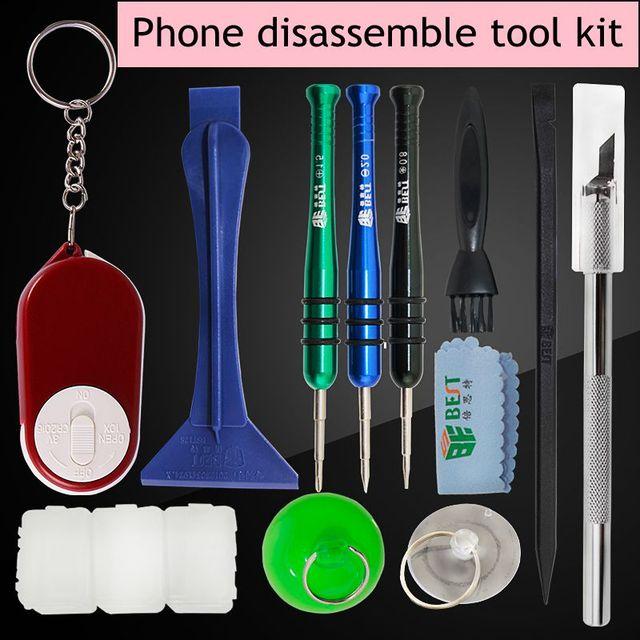 ЛУЧШИЙ Мобильный Телефон Разбирать Инструменты Работы Repair Tool Kit демонтирует отвертку бурин magnifier tool kit