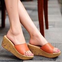 2017 Shoes Women Summer Sandals Genuine Leather Sandals Peep Toe Leisure Joker Trifle Ladies Slippers Footwear