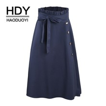 HDY Haoduoyi 2019 New Large Plus Size Skirts Gold Single Row Button High Waist Butterfly Knot Mid-length Female Women Skirt