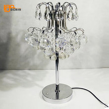 luxury design crystal tabel lamp modern desk light Dia23*H43cm lustre living room bedside lamp(China)