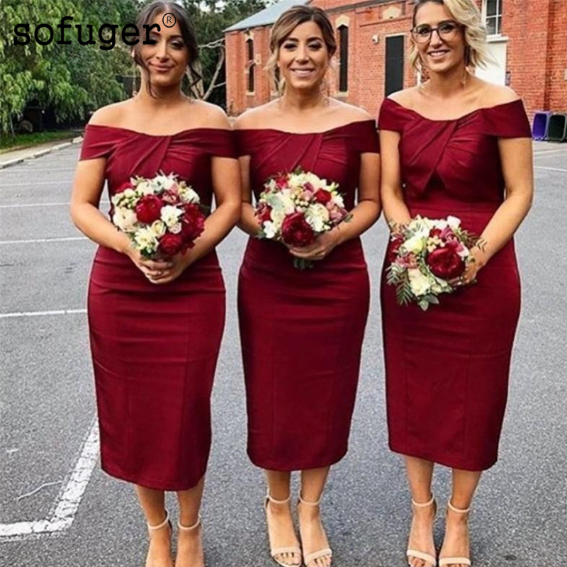 Burgundy Satin Sexy Sweetheart Special Occasion   Dress     Bridesmaid     Dresses   Off The Shoulder Wedding Party   Dresses   Formal