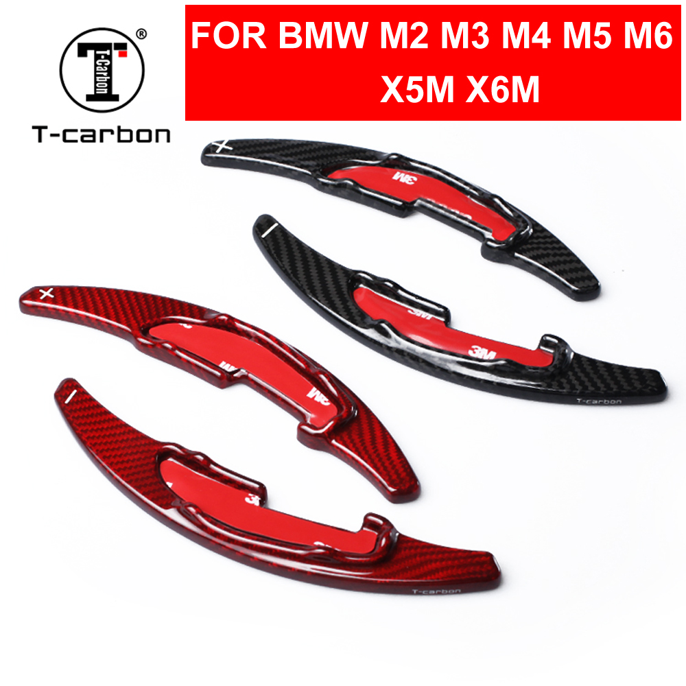 Car Styling Real Carbon Fiber Steering Wheel Shift Paddles Extension Shifters For BMW M-series M2 M3 M4 M5 M6 X5M X6M RED Black