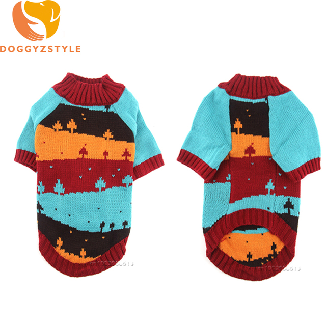 Pet Dog Sweater Christmas Tree Pattern Knit Clothes For Small Dogs