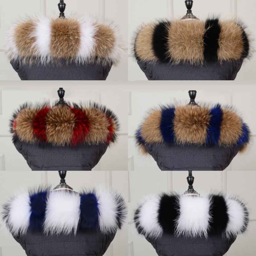 100 Raccoon Stiching Fashion Fur Collar Winter Keep Warm Women s Real Cap 60 70 80cm