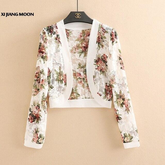 7900dbc712994 2019 Summer Fashion Women Short Cardigan Crochet Shrug Long Sleeve Lace  Hollow Out Print Sweater Cape Cardigan Shurg R555