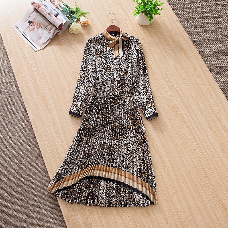 Femmes élégant arc col animal imprimé léopard robe à manches longues plissée mi-mollet robes nouveau 2019 printemps