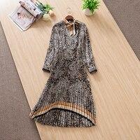 Women elegant bow collar animal leopard print dress long sleeve pleated mid calf dresses new 2019 spring