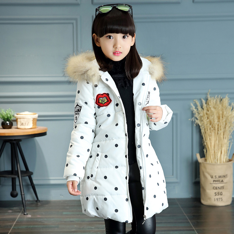 ФОТО Children Clothing Outerwear Down Coat With Real Fur Girl Cotton Hooded Long Zipper Casual Baby Infant Girls New Winter Jackets