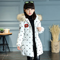 Children Clothing Outerwear Down Coat With Real Fur Girl Cotton Hooded Long Zipper Casual Baby Infant Girls New Winter Jackets