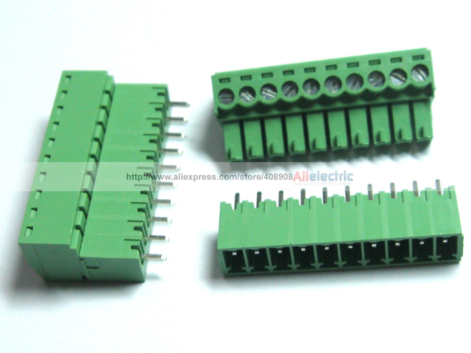 20 Pcs/lot  Screw Terminal Block Connector 3.81mm 10 Pin Way Green Pluggable Type