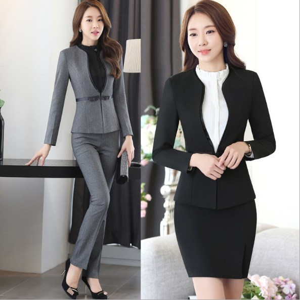 Ladies Slim Fit Trouser Suit Womens Formal Pantsuit Black Blue Grey Blazer and Pant Set Outfit Women Plus Size Pant Suits 4XL