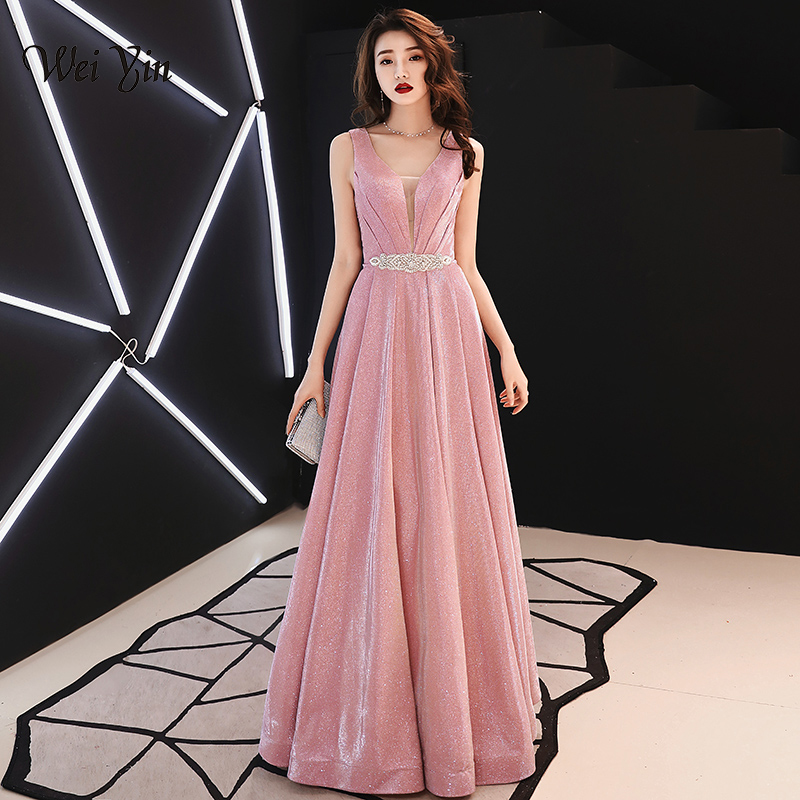Weiyin A Line Vintage  Evening Dresses 2019 Long Pink Sleeveless Floor Length Party Prom Dress Vestido De Noiva WY1323