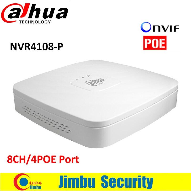 Dahua NVR Video Recorder NVR4108-P 8 Ch Smart Mini 1U has 4 PoE Ports HDMI Network 1 VGA/1 HDMI HD NVR up to 4TB 16ch poe nvr 1080p 1 5u onvif poe network 16poe port recording hdmi vga p2p pc