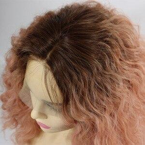 Синтетический короткий парик Marquesha, 2 тона, с темными корнями, пастельный, розовый, без клея, волнистый, жаростойкое волокно
