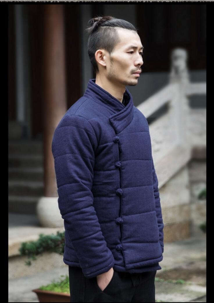 M 3xl Winter Chinese Stijl Katoen Gewatteerde Jassen Mannen Mode Toevallige Gesp Jas Jonge Retro Dikker Katoenen Jas Linnen Kleding - 6