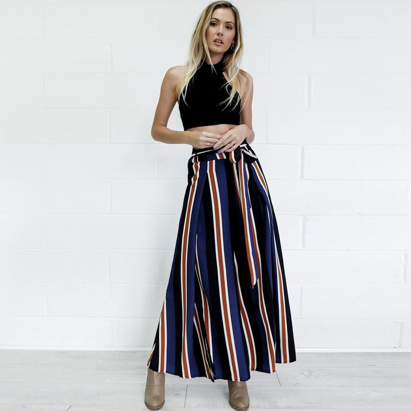 2018 New High Split Stripe Wide Leg   Pants   Women Summer Beach High Waist Trousers Chic Streetwear Sash Casual   Pants     Capris   Female