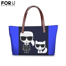FORUDESIGNS Fashion Karl Lagerfelds Printing Handbags for Women Girl Customize Image Shoulder Bag Ladies Femme Shopping