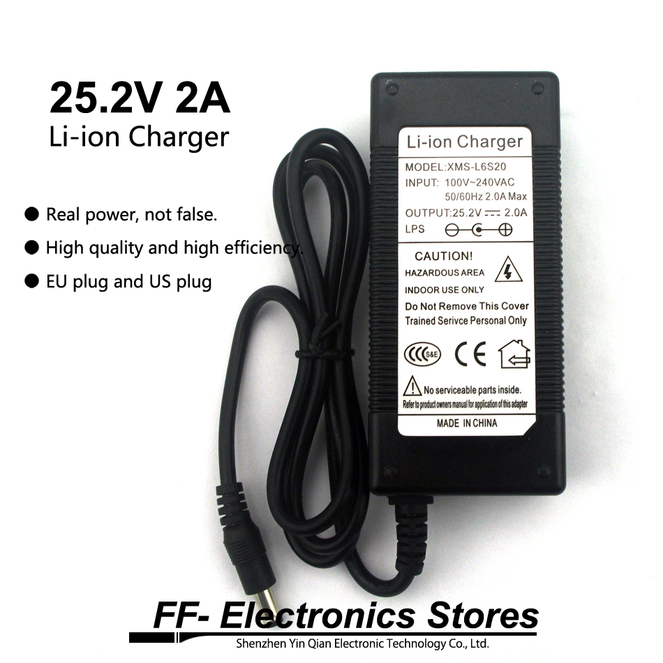 Real 25.2V 2A / 24V 2A Li-ion Charger AC 100-240V Converter Adapter EU Plug and US plug For Li-ion Battery. eu plug battery charger for samsung i9100 galaxy s2 100 240v