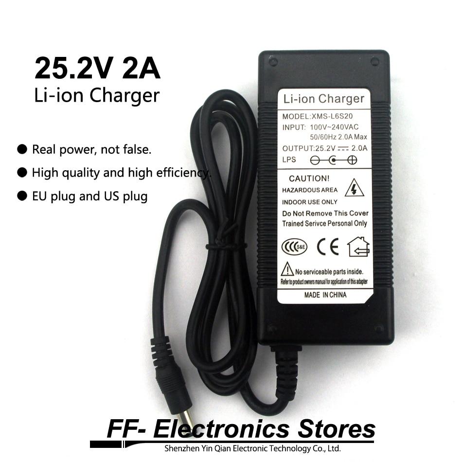 Real 25.2V 2A / 24V 2A Li-ion Charger AC 100-240V Converter Adapter EU Plug And US Plug For Li-ion Battery.