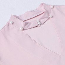 Elegant Hollow Out Pink Blouse Shirt