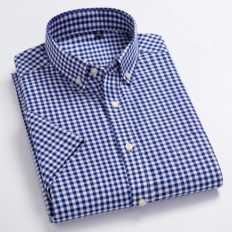 MACROSEA Oxford Casual Design Plaid Social 100% Cotton Short Sleeve